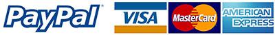 Paypal, Visa, MasterCard, American Express logo