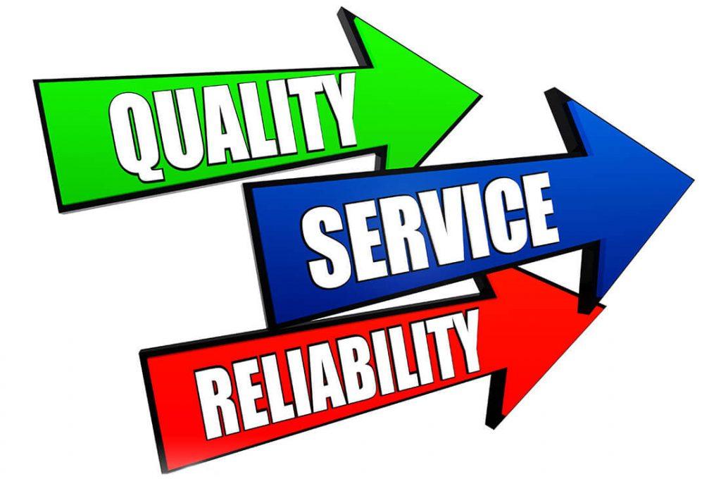 quality, service, reliability arrow